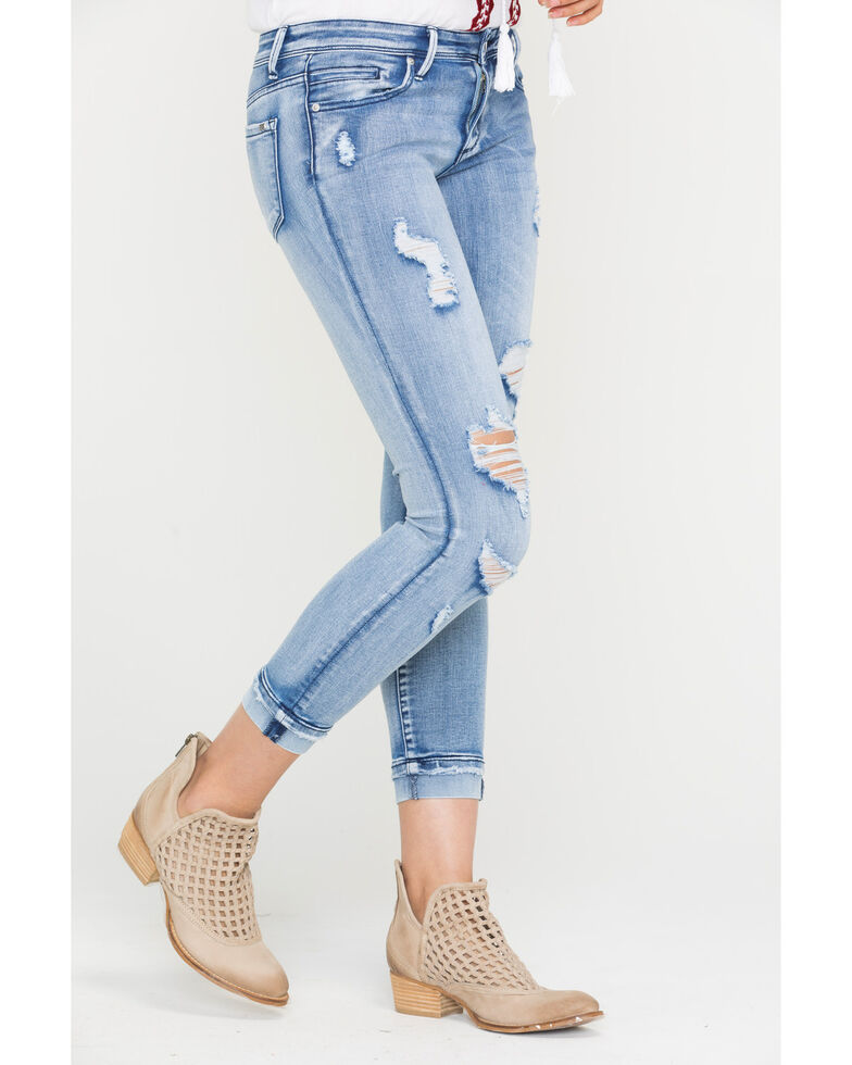 Tractr Blu Women's All Over Crop Cuffed Hem Jeans - Skinny, Indigo, hi-res