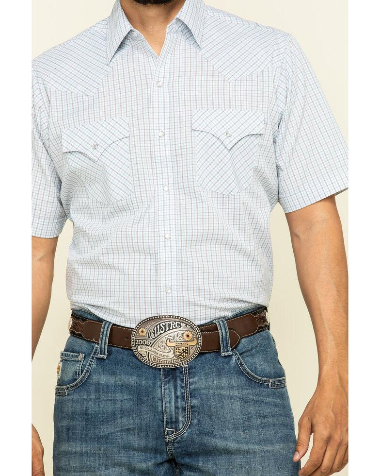 Ely Cattleman Men's Multi Mini Check Plaid Short Sleeve Western Shirt , White, hi-res