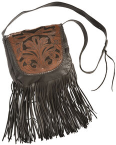 Kobler Leather Black Hand-Tooled Antique Finish Bag, Black, hi-res