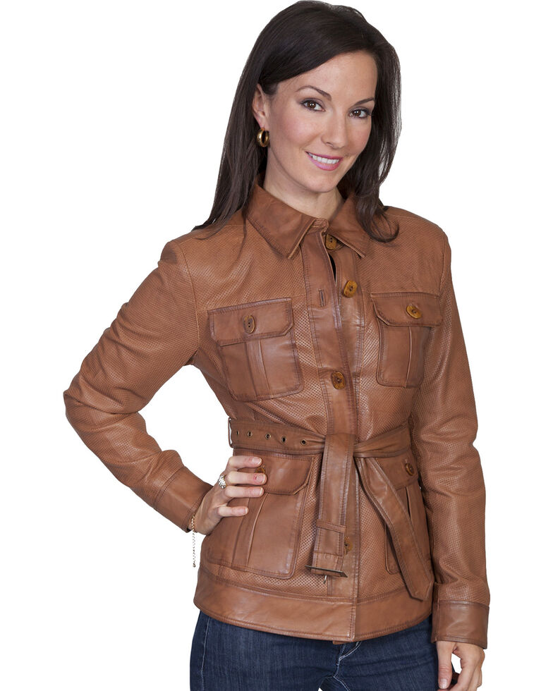 Scully Women's Belted Lamb Leather Jacket, Cognac, hi-res