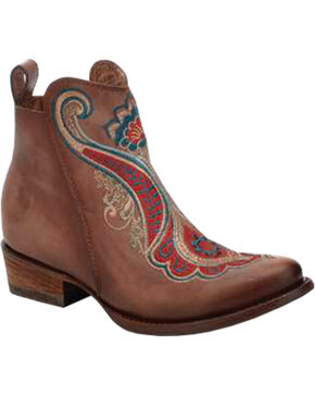Corral Women's Taupe Red Embroidered Ankle Boots - Round Toe, Taupe, hi-res