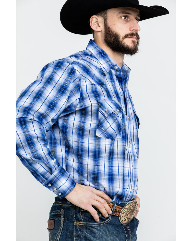 e93b5445380 Ely Cattleman Men s Textured Dobby Plaid Long Sleeve Western Shirt - Tall