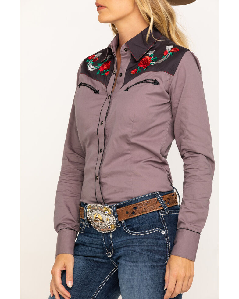 Rock & Roll Cowgirl Women's Retro Floral and Horseshoe Long Sleeve Western Shirt , Charcoal, hi-res