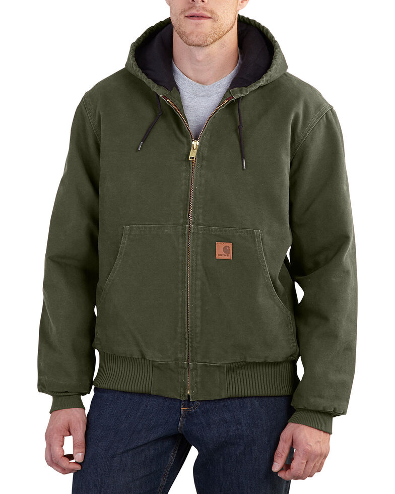 Carhartt Men's Moss Sandstone Active Hooded Jacket - Big, Moss Green, hi-res