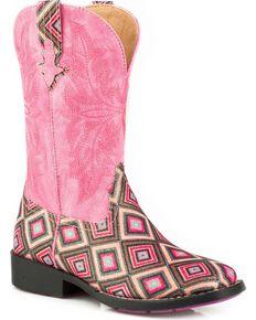 Roper Girls' Glitter Diamond Cowgirl Boots - Square Toe, Pink, hi-res