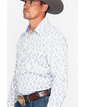 Rock & Roll Cowboy Men's Triangle Geo Print Long Sleeve Western Shirt , Grey, hi-res