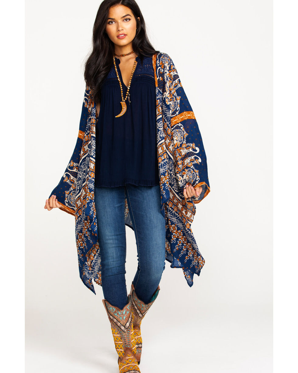 Patrons of Peace Women's Boho Border Print Kimono, Navy, hi-res
