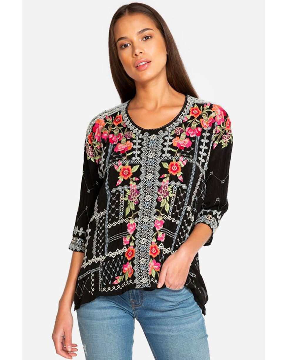 Johnny Was Women's Carnation Blouse, Black, hi-res