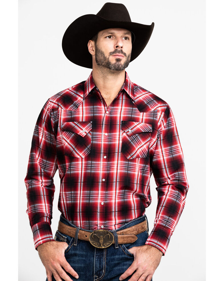 Ely Cattleman Men's Assorted Multi Textured Large Plaid Long Sleeve Western Shirt - Tall , Multi, hi-res