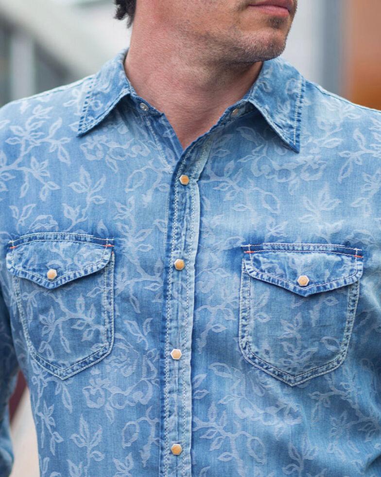 Ryan Michael Men's Floral Indigo Jacquard Shirt, Indigo, hi-res