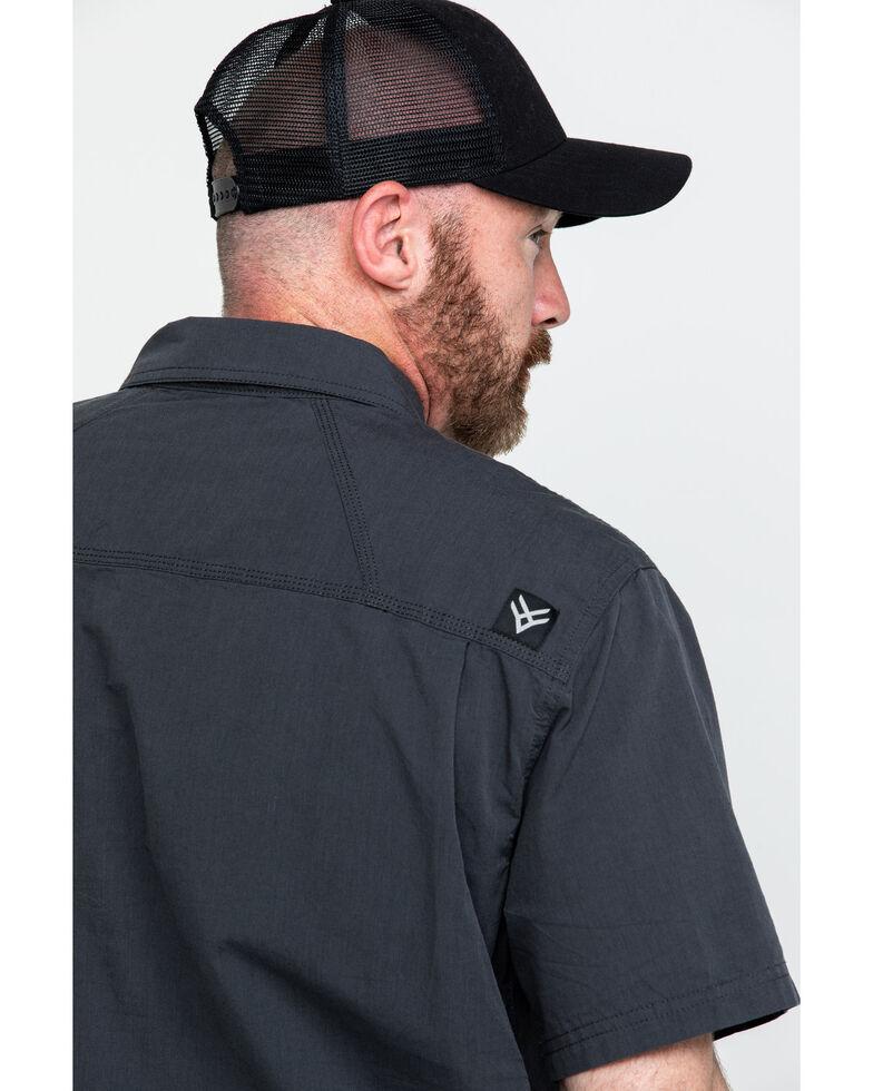 Hawx Men's Charcoal Solid Yarn Dye Two Pocket Short Sleeve Work Shirt - Tall , Charcoal, hi-res