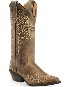 Laredo Women's Jasmine Embroidered western Boots, Taupe, hi-res