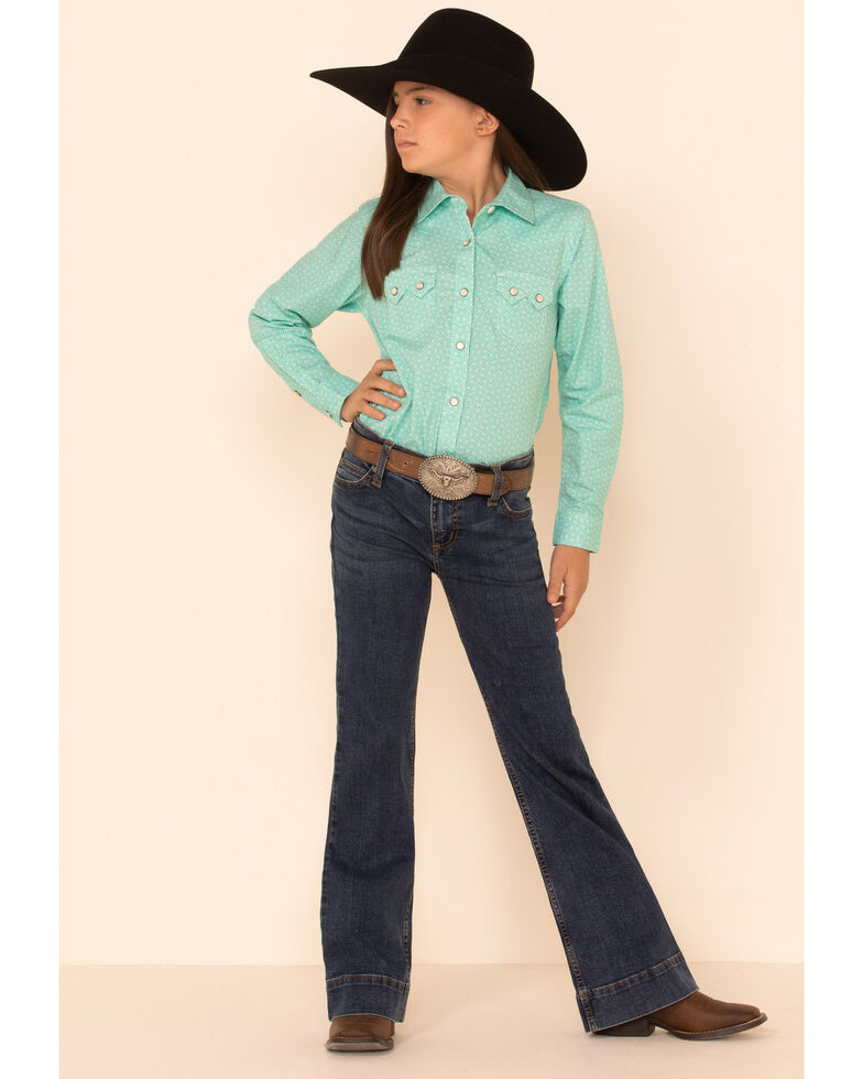Ariat Girls R.E.A.L Cypress Geo Print Long Sleeve Western Core Shirt, Turquoise, hi-res