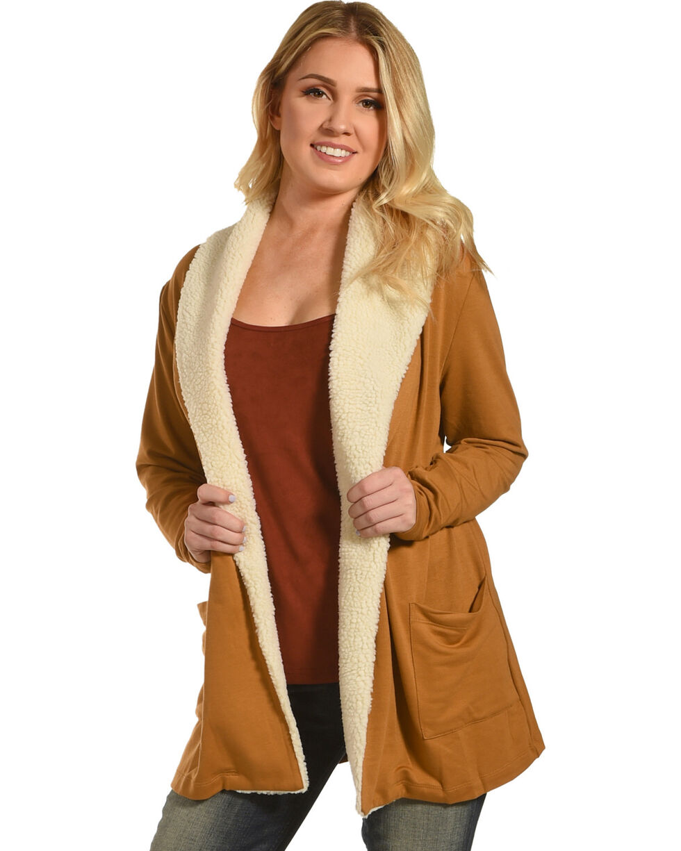 New Direction Sport Women's Sherpa Lined Jacket , Brown, hi-res