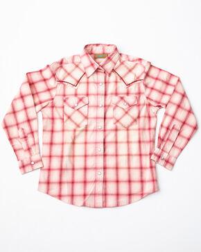 Wrangler Girls' Rose Ombre Long Sleeve Western Top, Pink, hi-res