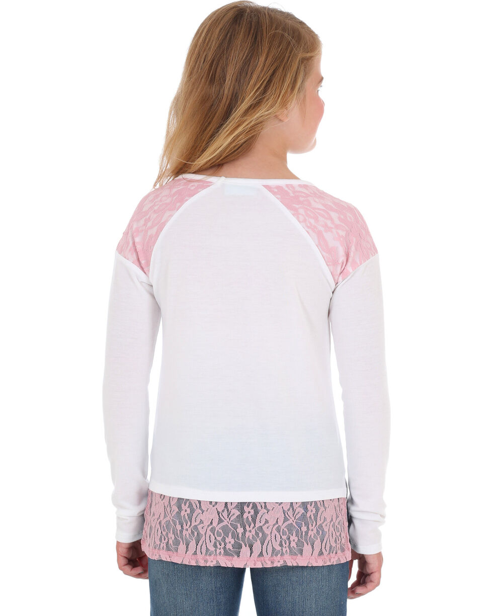 Wrangler Girls' Cream Lace Horse Print Top , Cream, hi-res