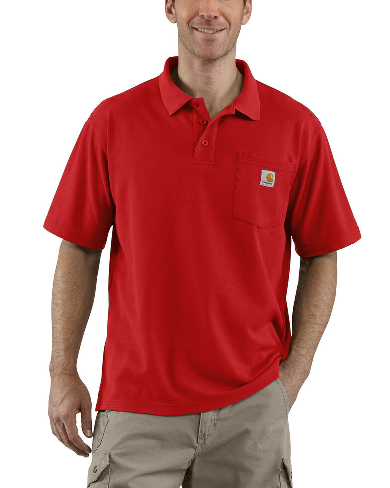 Carhartt Men's Contractors Pocket Short Sleeve Work Polo Shirt, Red, hi-res