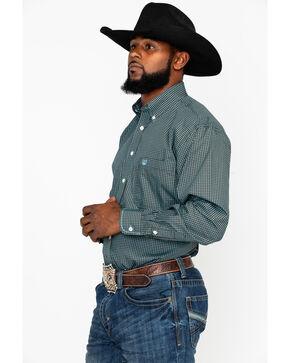 Rough Stock by Panhandle Men's Aqua Geo Print Long Sleeve Western Shirt , Aqua, hi-res