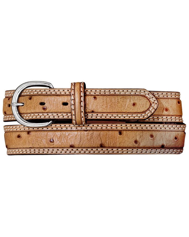 Nocona Men's Ostrich Print Stockman Western Belt, Tan, hi-res