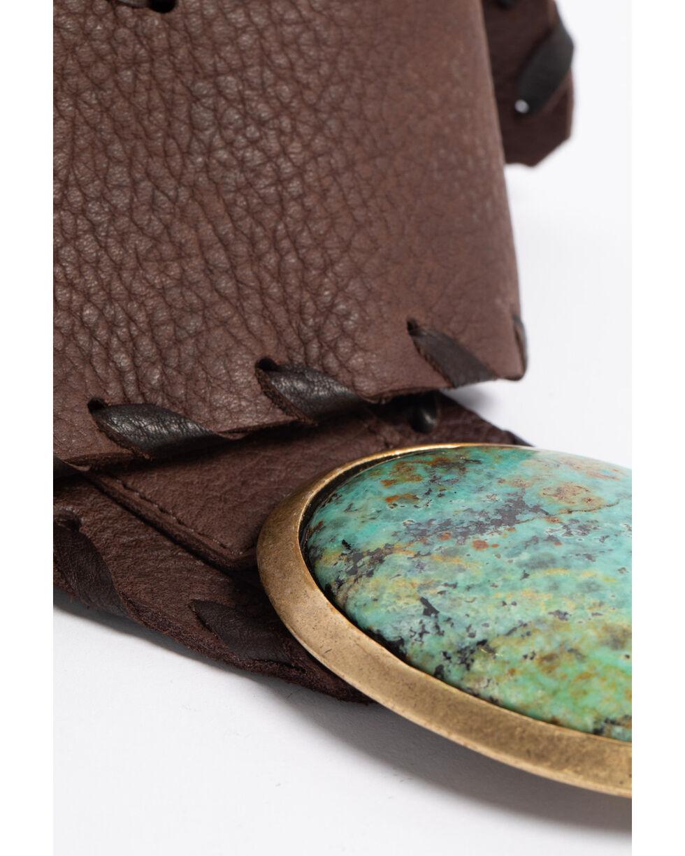 Leatherock Women's Chocolate Bullhide Concho Belt , Dark Brown, hi-res