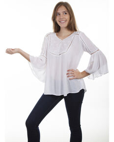 Honey Creek by Scully Women's Hi/Lo Lace Crochet Blouse , Ivory, hi-res