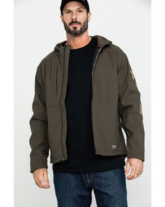 Ariat Men's Rebar Stretch Canvas Softshell Hooded Logo Work Jacket - Big & Tall , Loden, hi-res
