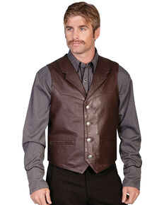 Scully Men's Lambskin Lapel Vest, Brown, hi-res