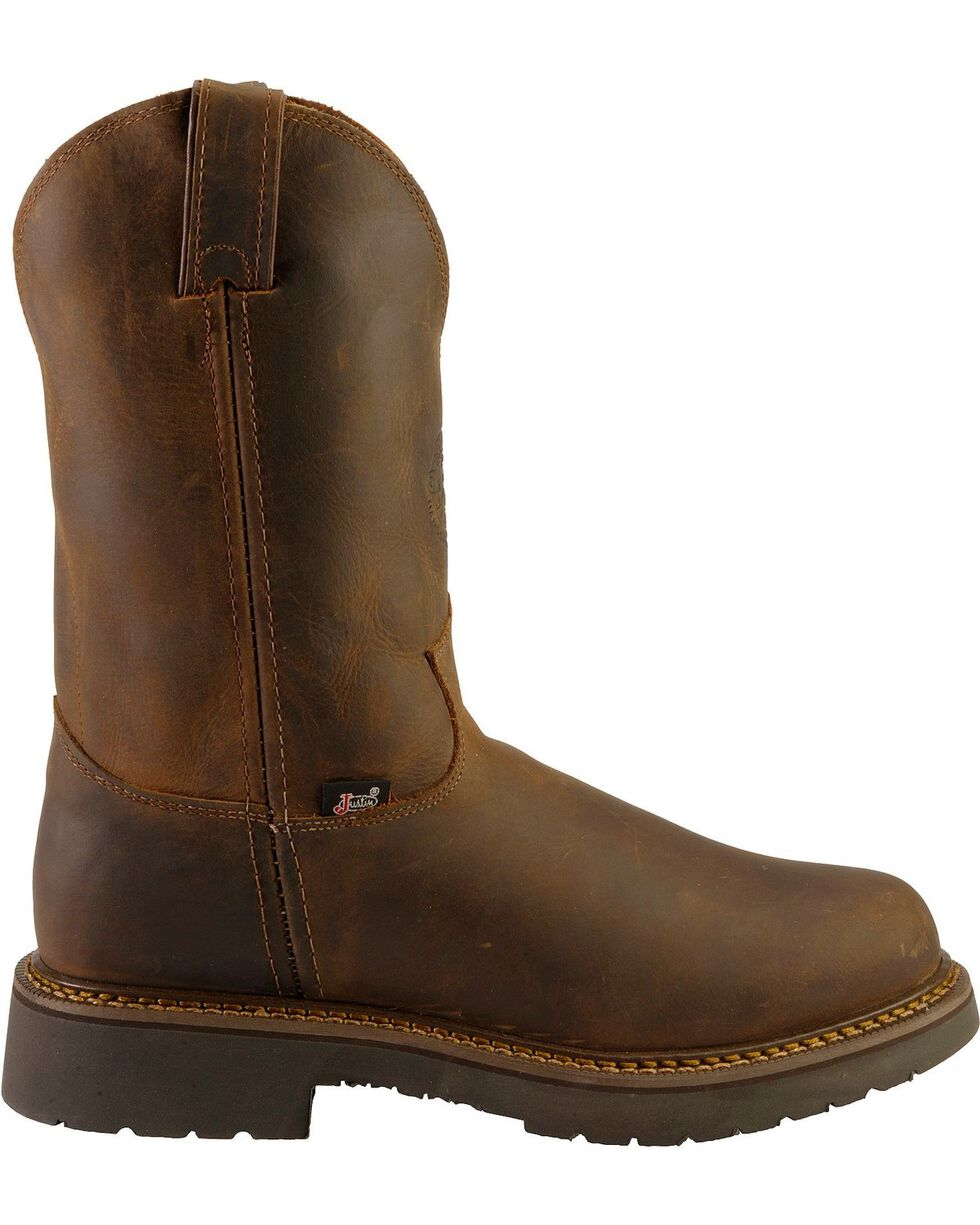 Justin Men's J-Max Rugged Bay Gaucho Pull-On Work Boots, Chocolate, hi-res