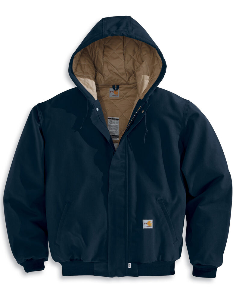 Carhartt Flame-Resistant Duck Active Hooded Jacket - Big & Tall, Navy, hi-res