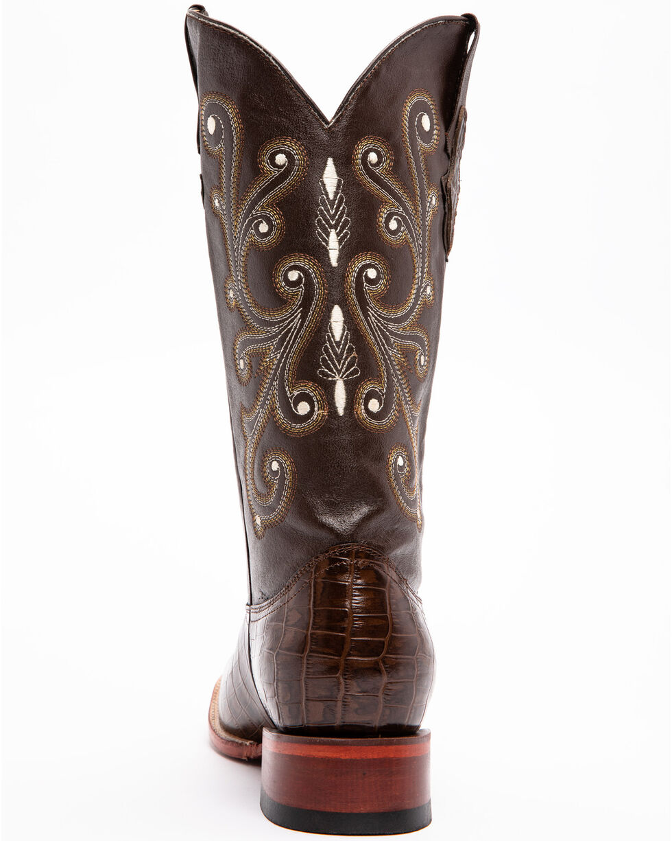 Ferrini Men's Alligator Belly Print Western Boots, Chocolate, hi-res