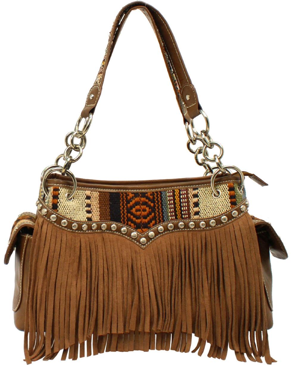 Blazin Roxx Women's Fringe Handbag, Brown, hi-res