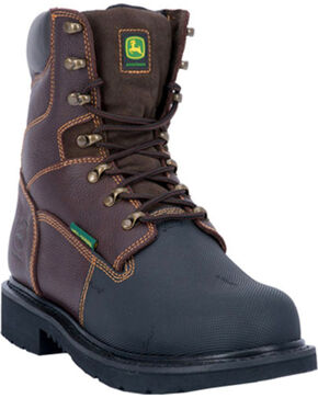"John Deere Men's 8"" Fire Retardant Work Boot, Chocolate, hi-res"