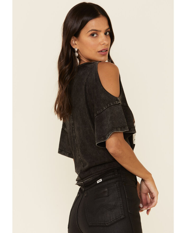 White Crow Women's Night Rainbow Dolly Quote Cold Shoulder Top, Black, hi-res