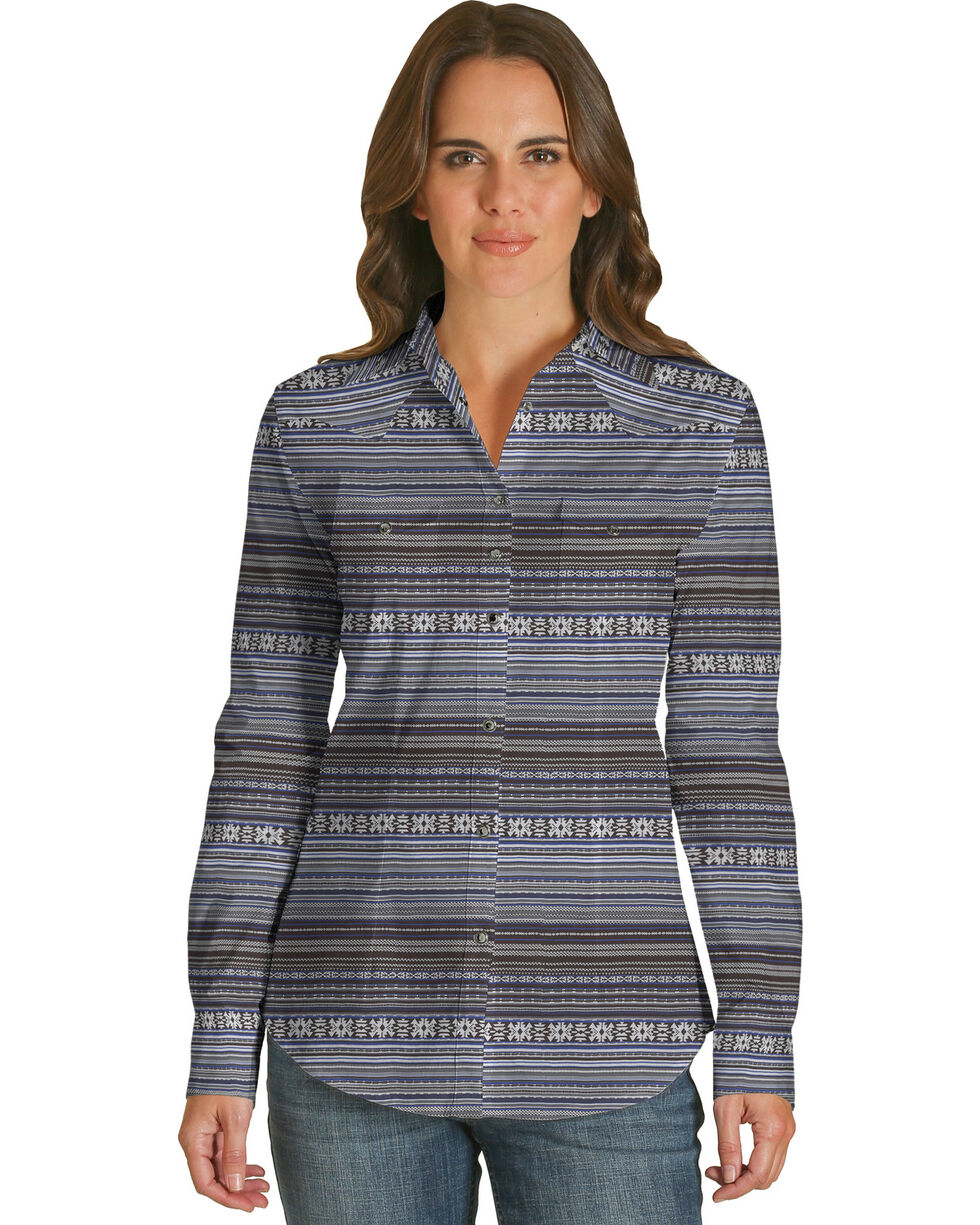Wrangler Women's Blue Striped Print Shirt , Blue, hi-res