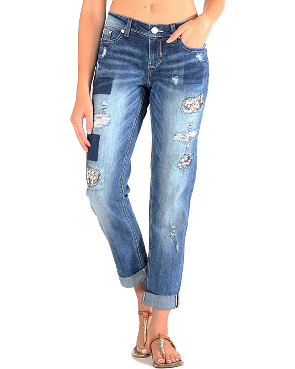 Grace in LA Women's Floral Printed Patchwork Boyfriend Jeans , Dark Blue, hi-res