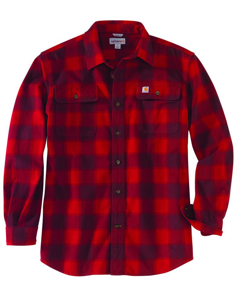 Carhartt Men's Hubbard Flannel Long Sleeve Work Shirt - Tall , Dark Red, hi-res