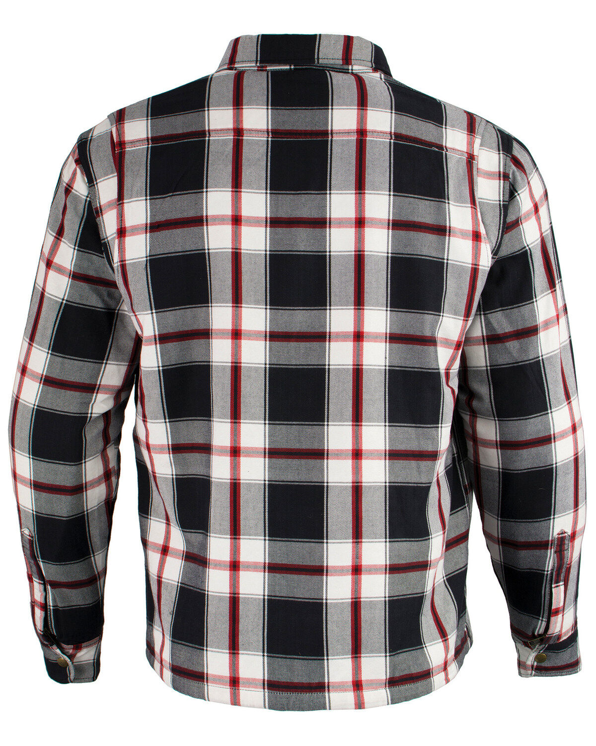 Black//White//Red, 4X Milwaukee Performance Mens Flannel Biker Jacket With Aramid