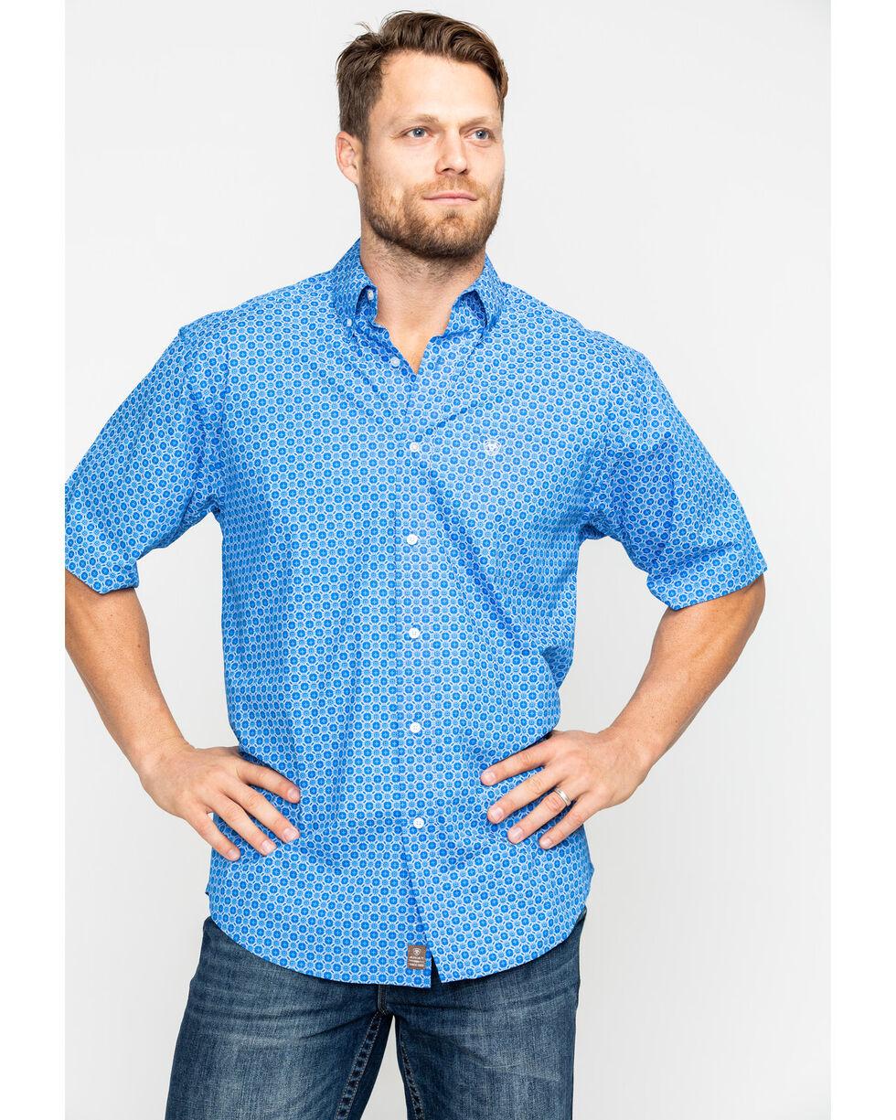 Ariat Men's Egon Geo Print Short Sleeve Western Shirt - Big & Tall , Blue, hi-res