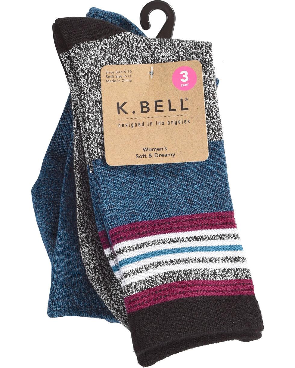 K. Bell Women's 3-Pack Soft & Dreamy Crew Socks , Black, hi-res