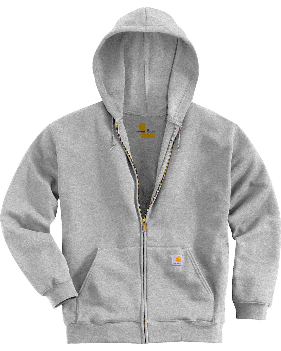 Carhartt Men's Midweight Hooded Zip-Front Sweatshirt, Grey, hi-res
