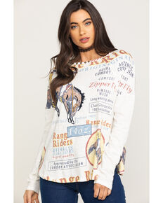 Double D Ranchwear Women's Range Rider Long Sleeve Top, White, hi-res