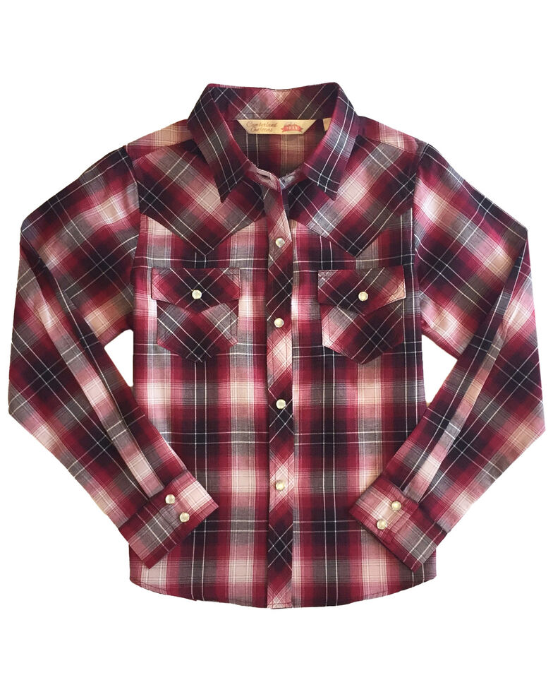 Ely Walker Girls' Cherry Plaid Long Sleeve Western Shirt , Red, hi-res