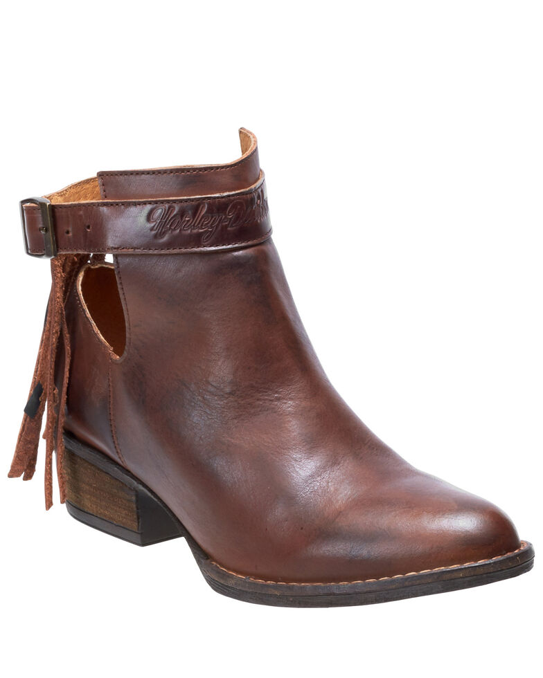 Harley Davidson Women's Amory Moto Booties - Round Toe, Brown, hi-res