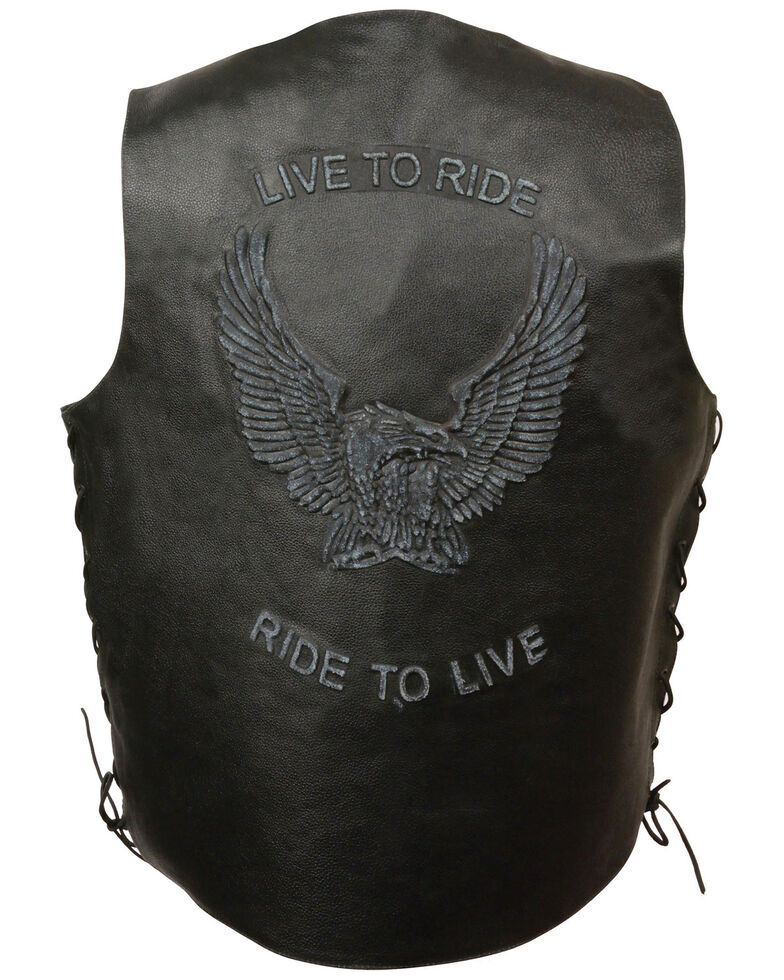 "Milwaukee Leather Men's ""Live to Ride"" Flying Eagle Vest - 4X, , hi-res"