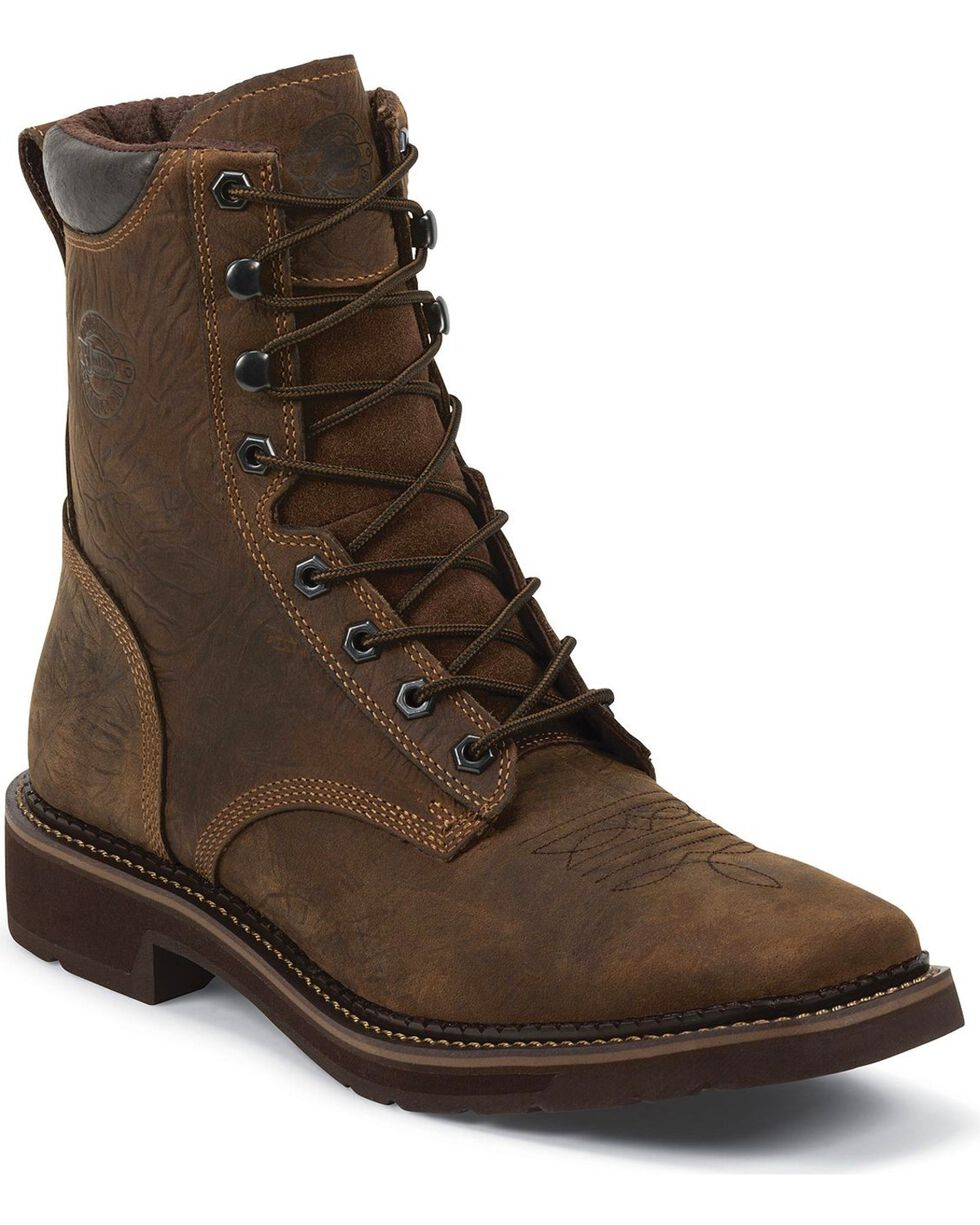 "Justin Men's Driller 8"" Waterproof Lace-Up Work Boots - Composite Toe, Barnwood, hi-res"