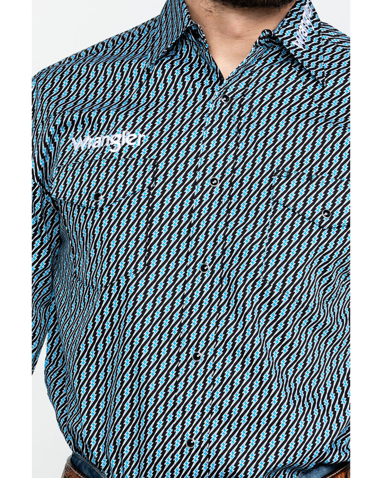 Wrangler Men's Turquoise Logo Geo Print Long Sleeve Western Shirt , Turquoise, hi-res