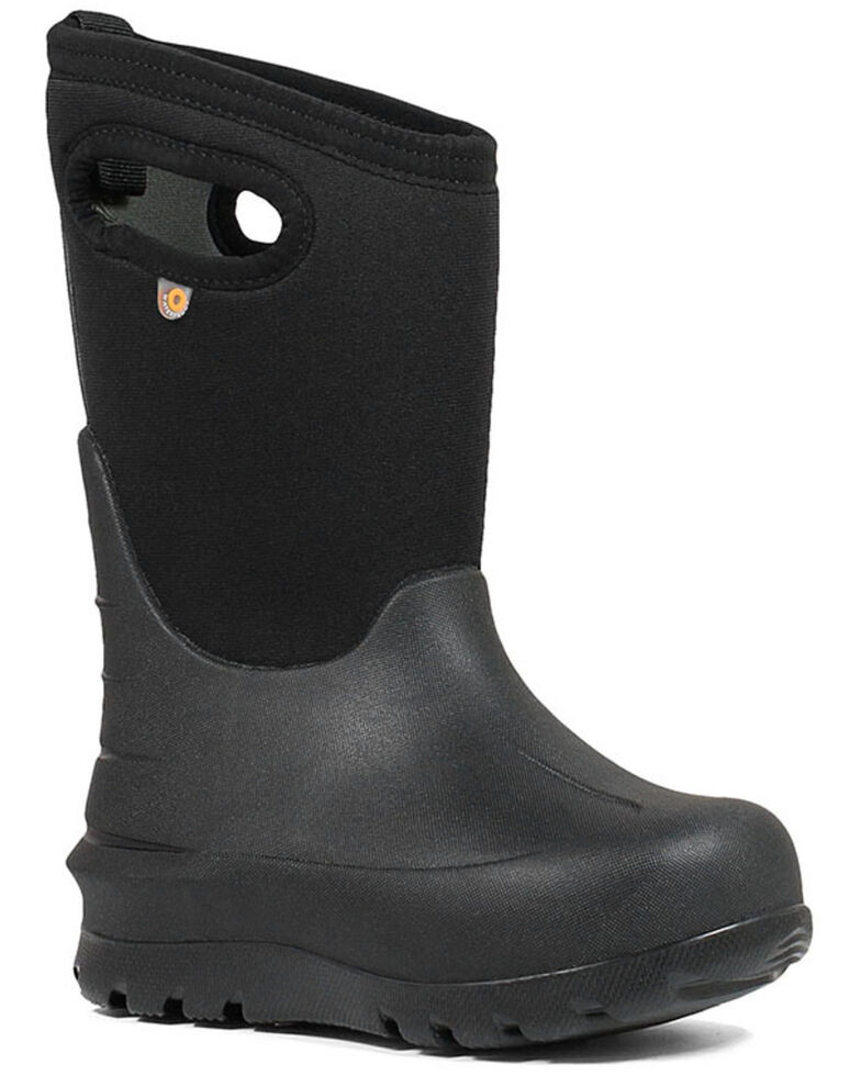 Bogs Boys' Neo Classsic Black Outdoor Boots - Round Toe, Black, hi-res
