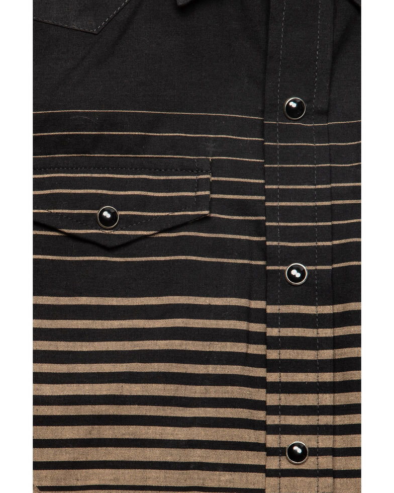 Roper Boys' Multi Border Stripe Long Sleeve Western Shirt , Black, hi-res
