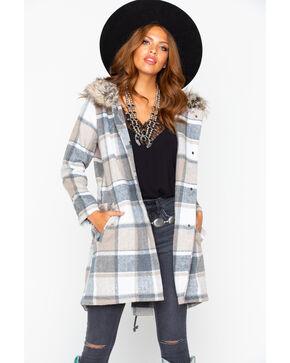 BB Dakota Women's Plaid Snap Fur Trim Coat , Tan, hi-res