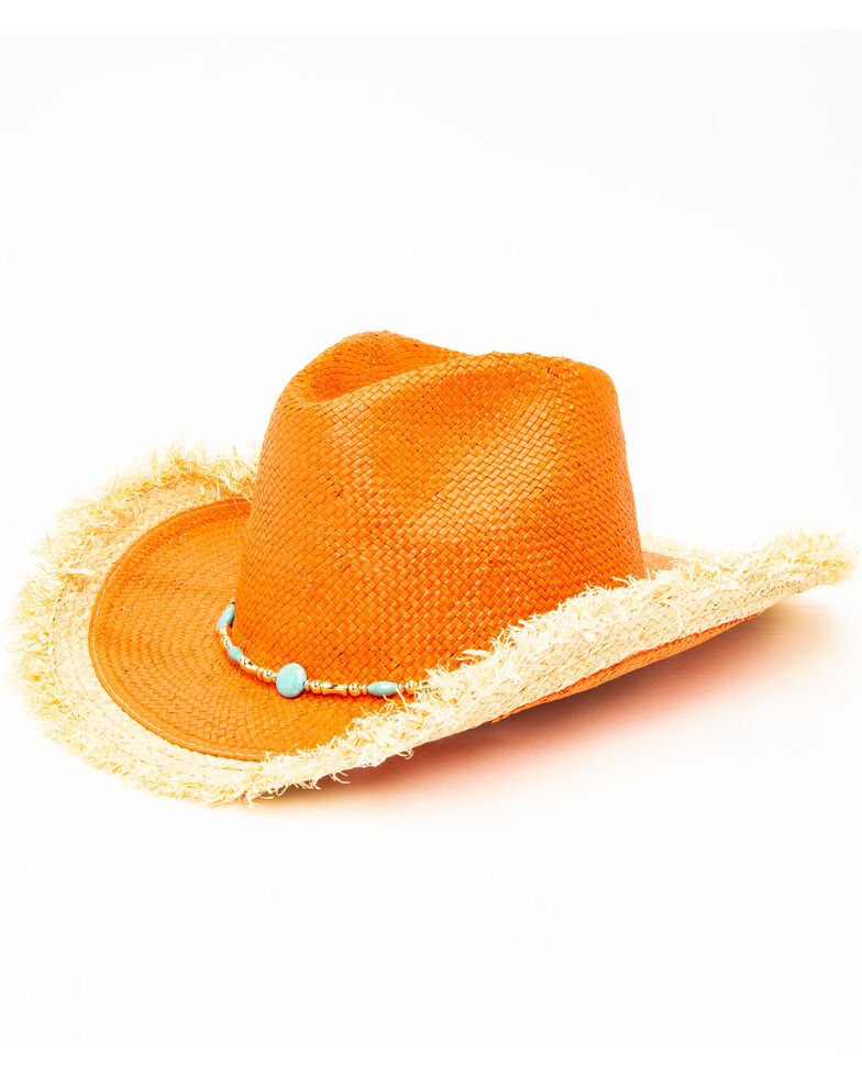 San Diego Hat Co. Women's Rust Beaded Straw Hat, Rust Copper, hi-res